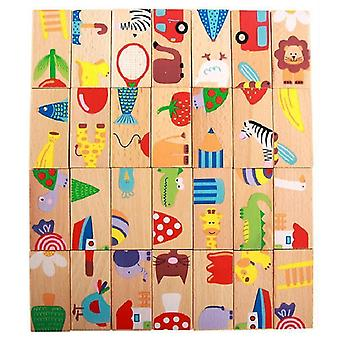 Wooden blocks 28 pieces/set of animal color wooden dominoes cute cartoon baby toys children games