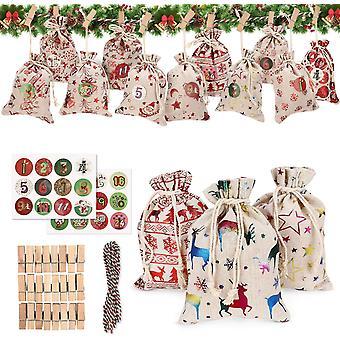 Pienet laukut, Diy-joulukalenterit, kiristysnyörillä, käsityöllä (24 kpl)