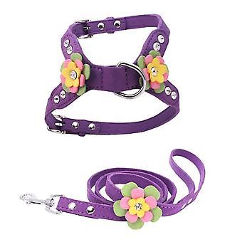 Écharpe réglable pour chat et chiensadjustable plomb Laisse sangle de poitrine violet foncé S
