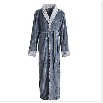 Winter Thickening And Coral Fleece Bathrobe,couple Plush Long Nightgown