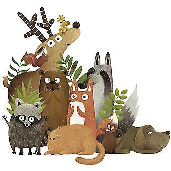 skog dyr vegg klistremerke dekaler (størrelse: 90cm x 84cm)