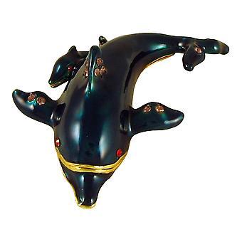 Ocean Marine Dolphin Mom and Baby Jeweled Enameled Trinket Box