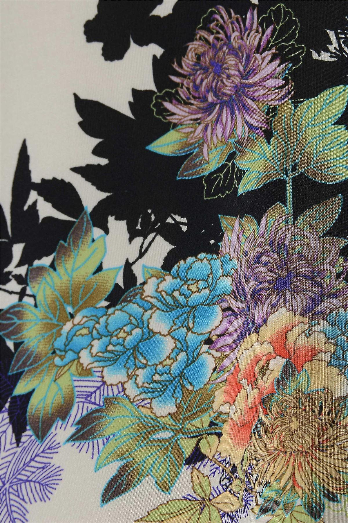 Blue Floral Satin Look Top TP417-L