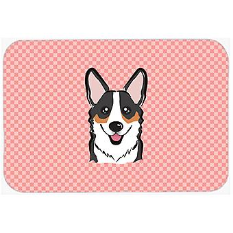 Checkerboard Pink Corgi Mouse Pad, Hot Pad or Trivet