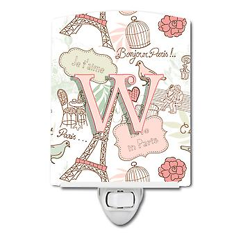 Carolines Treasures  CJ2002-WCNL Letter W Love in Paris Pink Ceramic Night Light