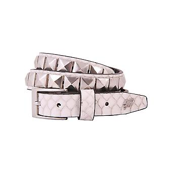 Lowlife Single Stud Leather Belt in White Snakeskin