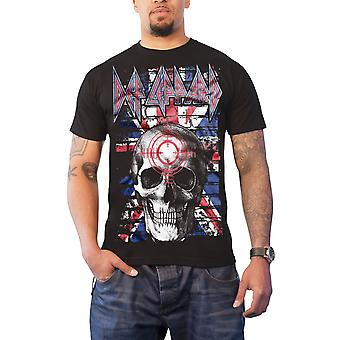 Def Leppard T Shirt Union Jack Skull band logo new Official Mens Black
