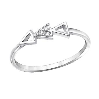 Geometric - 925 Sterling Silver Jewelled Rings - W30541x