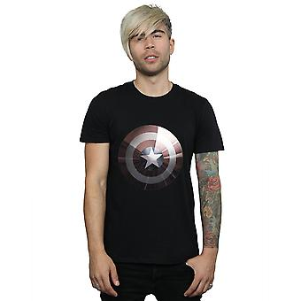 Marvel Men's Captain America Shield Shiny T-Shirt
