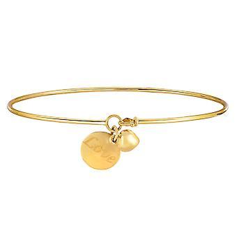 14k gul guld skinnende tynde armbånd med Puff hjerte og elsker indgraveret plade charme, 7.25