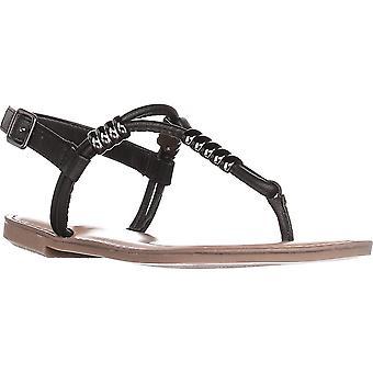 Bar III B35 Vortext T-Strap Flat Sandals - Black