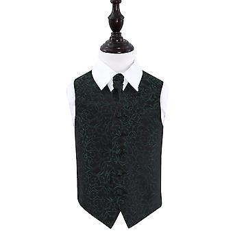 Zwarte & groene Swirl bruiloft gilet & Cravat Set voor jongens
