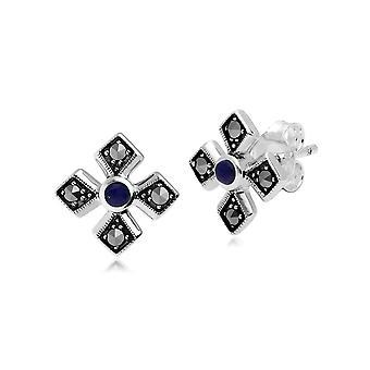 Art-Deco-Stil Runde Lapis Lazuli & Marcasite Gothic Stil Kreuz Ohrstecker in 925 Sterling Silber 214E859903925