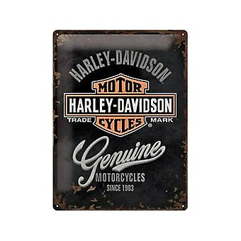 Harley Davidson aito suuria kohokuvioitu teräs allekirjoittaa 400 X 300 Mm