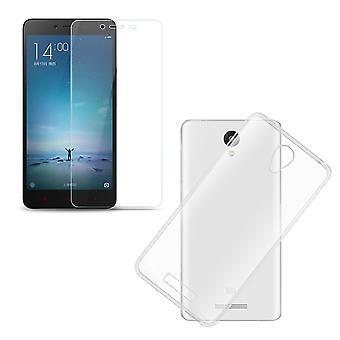 Xiaomi Redmi Note 2 / Redmi Note 2 Prime  Handy Hülle Schutz Tasche Ultra Dünn nur 0,3 mm Case Cover Schutzhülle Schale + Panzer Glas Echtglas Display Schutz