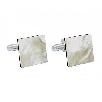Herren - Manschettenknöpfe – 925 Silber – Perlmutt – Weiß – 16 mm