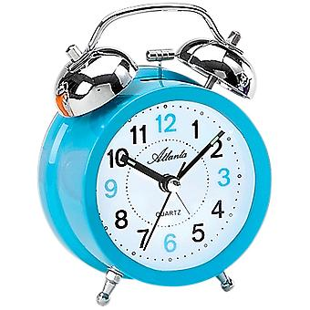 Atlanta 1743/5 alarm klok kwarts Bell alarm clock twin Bell wekker blauw licht blauw
