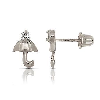 14k Oro Bianco C'è Cubic arieti Simulato Diamond Umbrella Forma Vite Indietro Orecchini Misure 9x6mm Gioielli Regali per W