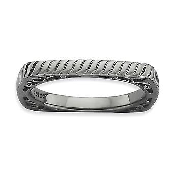 2.25mm 925 Sterling Silver Patterned Ruthenium plating Stackable Expressions Polished Black plate Square Ring Jewelry Gi