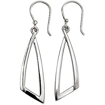 Beginnings Open Abstract Triangle Drop Earrings - Silver