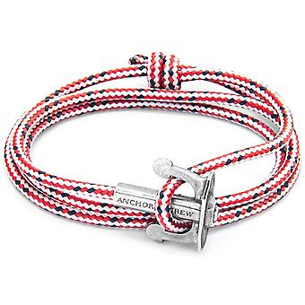 Anchor and Crew Union Silver and Rope Bracelet - Red Dash
