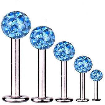 Labret Baari korvankansi lävistyksiä titaani 1,6 mm, Multi Crystal Ball vaaleansininen | 5-16