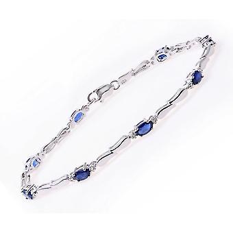 Estrelas do casamento anéis conjunto de bracelete de prata esterlina com diamantes e pedras preciosas safira azul