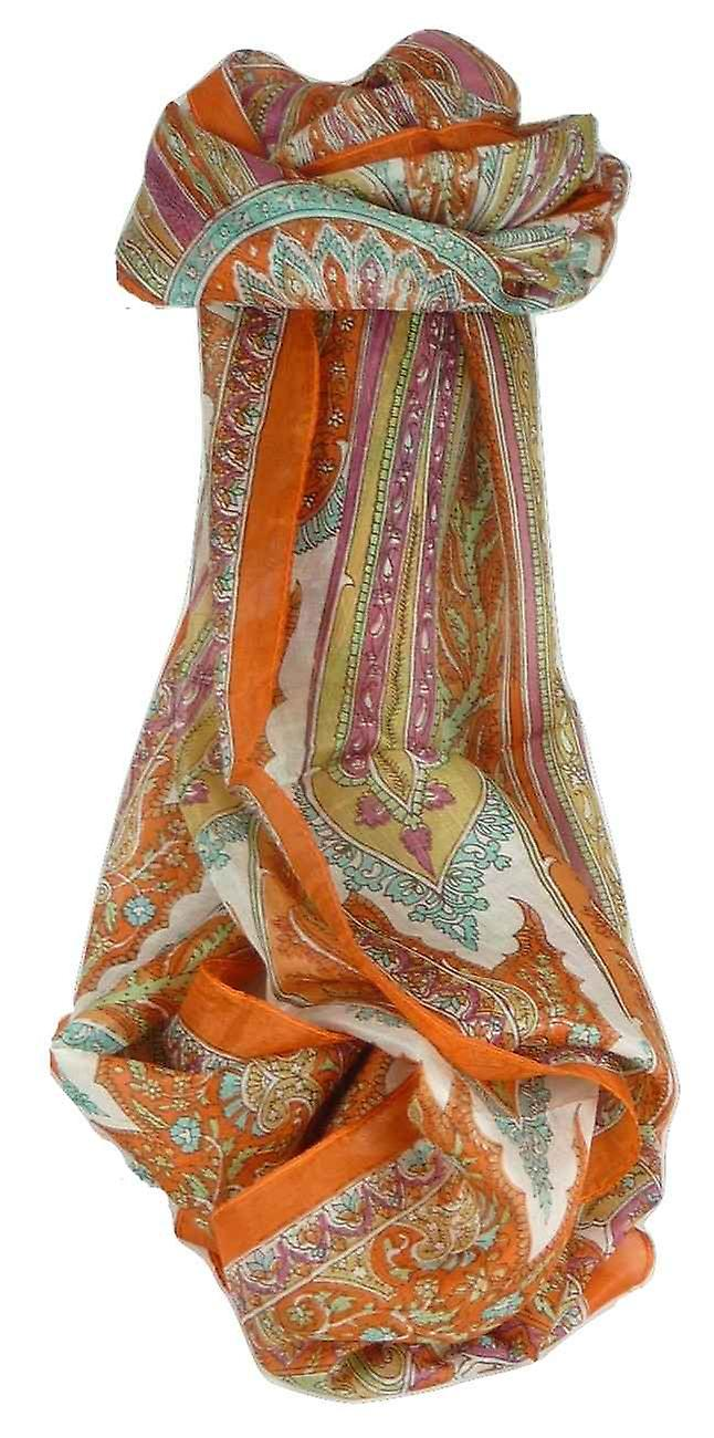 Mulberry Silk Traditional Long Scarf Johal Terracotta by Pashmina & Silk
