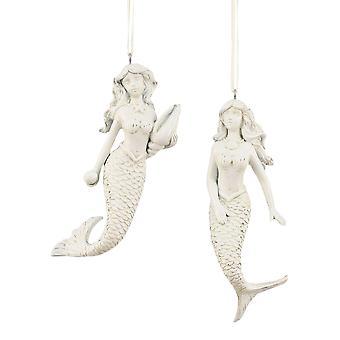 Coastal White Mermaid Distressed Resin Holiday Ornaments Set of 2