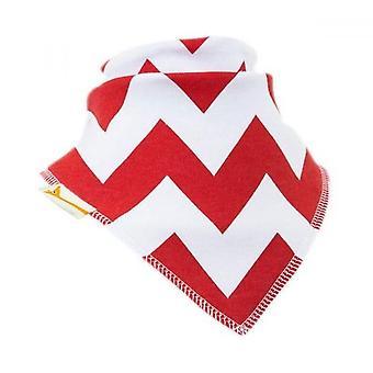 Babero bandana de zig-zag blanco y rojo