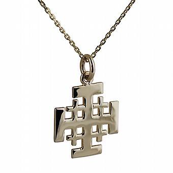 Cadena de oro 9ct 19mm Cruz de Jerusalén con un cable de 20 pulgadas