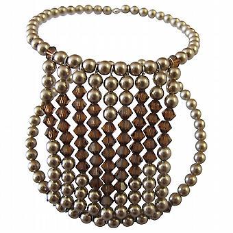 Bracciale cuore cuore Bracciale Bracciale perle bronzo cristalli topazio affumicato