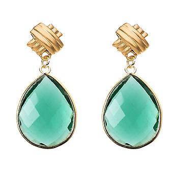Orecchini Gemshine verde pietre di tourmaline goccia 925 argento o oro placcato