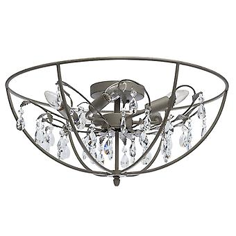 Glasberg - semi-spoelen licht vijf plafondlamp In zand grijs met kristallen 104012005