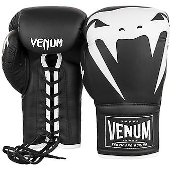 Venum Giant 2.0 Lace Up Leather Pro Boxing Gloves - Black/White