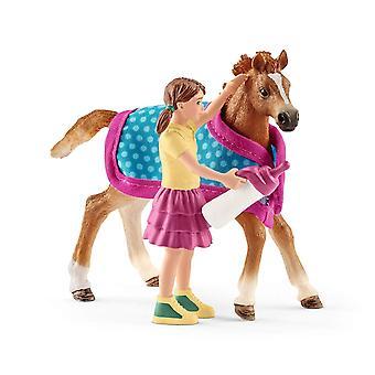 Schleich Club foal Horse Toy figur med teppe (42361)