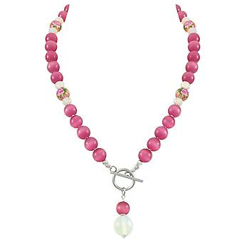 Eternal Collection Serene Fuchsia Pink Cats Eye Beaded Silver Tone Toggle Statement Necklace