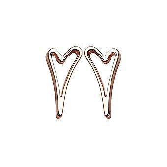Miss Dee Rose Gold Plated Open Heart Stud Earrings