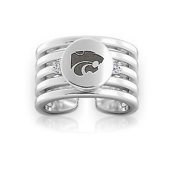 جامعة ولاية كانساس نقشت الجنيه الاسترليني فضة الماس خاتم الكفة متعدد النطاقات