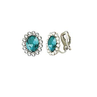 Eternal Collection Majesty Aquamarine Crystal Silver Tone Stud Clip On Earrings