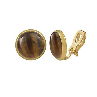 Ewige Sammlung Symphonie Tiger Eye Gold Stud Clip auf Ohrringe