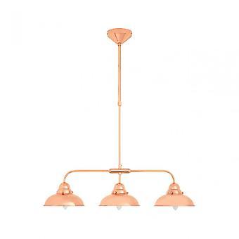 Premier Home Jasper 3 Pendant Light, Stainless Steel, Copper