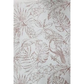 Muriva Sankuru Metallic Tropical Wallpaper Birds Floral Leaf Rosa Oro Gris