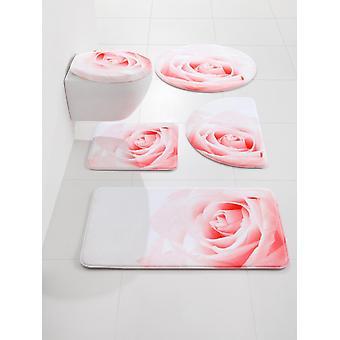 Heine home Zestaw łazienka top + okładka z cyfrowym nadrukiem motyw róży wykonany z pianki pamięci ok. 47/50 cm + około 55/50 cm