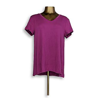 H par Halston Women-apos;s Top Essentials V-Neck Tee Purple A306231