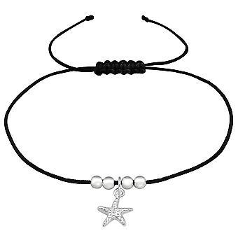 Starfish - 925 sterlinghopea + nylon johto johdolliset rannekorut - W38994x