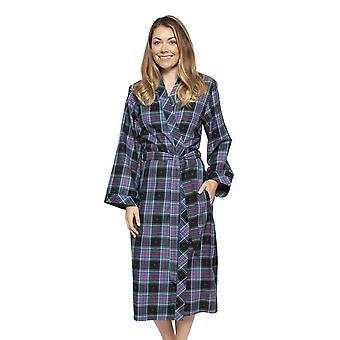 Cyberjammies 4265 Women's Ezme Black Mix Check Cotton Long Robe