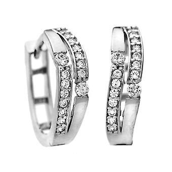 Citerna Women's Earrings in White Gold 9K with Cubic Zirconia