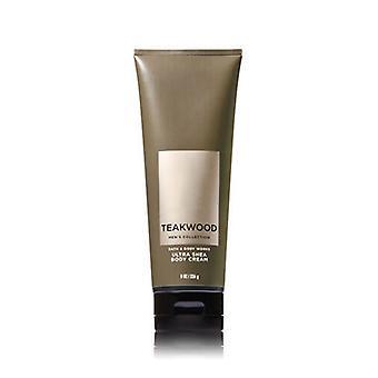 Bad & Body Works Teakwood Mænd 's Ultra Shea Body Cream 8 oz / 226 g (2 Pack)