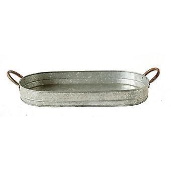 Benzara galvanized metal tray with ear handles, gray